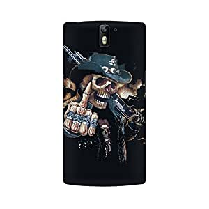 Mobicture Skull Finger Premium Printed High Quality Polycarbonate Hard Back Case Cover for OnePlus One With Edge to Edge Printing