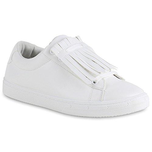 Sneakers Low Damen Lack & Glitzer Turnschuhe Freizeit Schuhe Weiss Weiss Brooklyn