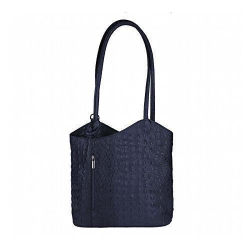 OBC Made in Italy Ledertasche Damentasche 2in1 Handtasche Rucksack Umhängetasche Schultertasche Tablet/Ipad mini bis ca. 10-12 Zoll 27x29x8 cm (BxHxT) (Rot (Strauß)) DunkelBlau(Kroko)