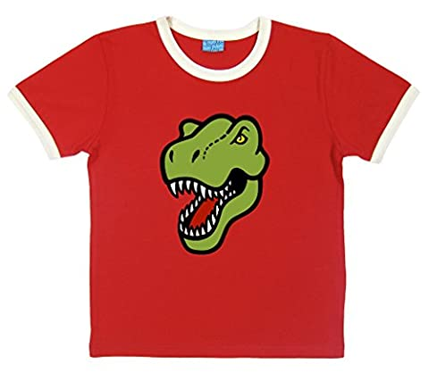 Organic Cotton Unisex T-Rex T-Shirt. Extra Large. Red.