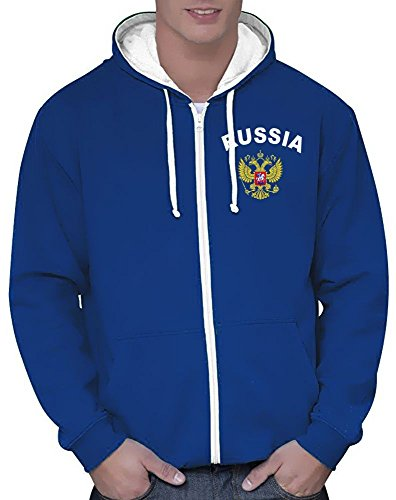 Coole-Fun-T-Shirts Russland Russia Sweatshirtjacke Varsity Jacke Blau, Gr.XXL