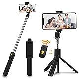 SOOTEWAY Selfie-Stick, ausziehbarer Bluetooth-Telefonstativ mit kabelloser Fernbedienung, kompatibel mit iPhone X/8/8P/7/7P/6S/6, Samsung Galaxy S9/S8/S7/Note 9/8, Huawei und mehr, Schwarz