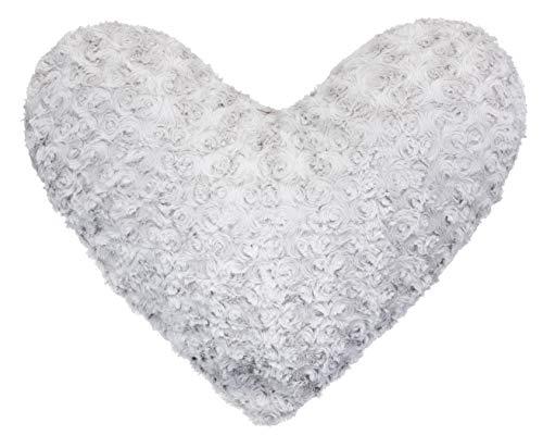 Brandsseller - cuscino decorativo 3d a forma di cuore con fiori e rose, microfibra, grigio chiaro, 40 x 40 cm