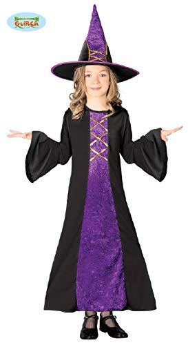 Guirca Lila Kinder Hexe mit Hut Halloween Kostüm Hexenkostüm Gr. 110-146, Größe:110/116