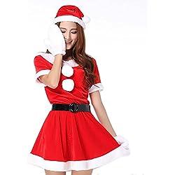 MissFox Ropa De Navidad Mujer Cosplay Noel Papá Corto De La Manga Rojo