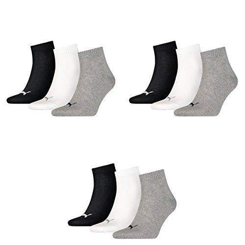 Puma Socken Quarter Sneakers Damen, Herren 9er Pack (Schwarz/Weiß/Grau, 35-38 (UK 2.5-5))