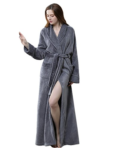 BELLOO Ladies Winter Flannel Dressing Gown Fleece Bathrobe Full Length Loungewear - 41jNRu0UmlL - BELLOO Ladies Winter Flannel Dressing Gown Fleece Bathrobe Full Length Loungewear