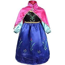 Ninimour Disfraz Vesitdo de Princesa Hielo para Las Niñas (130, Ana)