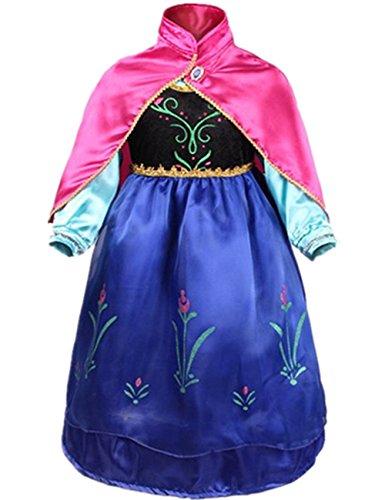 Jahr Altes Kind Kostüm 100 - Ninimour Mächen Eiskönigin Eiskönigin Prinzessin Cosplay Fasching Kostüm Tutu Kleid 3-8 Jahre Alt (100, ZZZ-Blau)