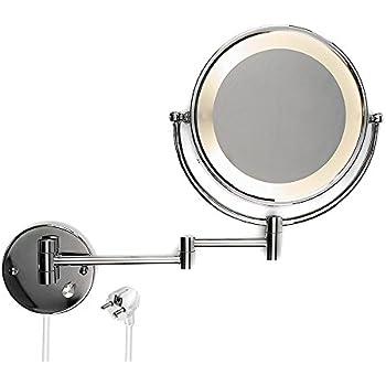 kosmetikspiegel schminkspiegel led beleuchteter wandspiegel mit wandarm und 7 fach zoom amazon. Black Bedroom Furniture Sets. Home Design Ideas