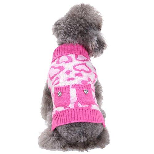 LvRao Klein Hunde Katzen Strickpullover Pulllover Rollkragen Sweater Leopard Weich Warme Haustier Kostüm Mantel (Pink Herz, - Pink Leopard Katze Kostüm