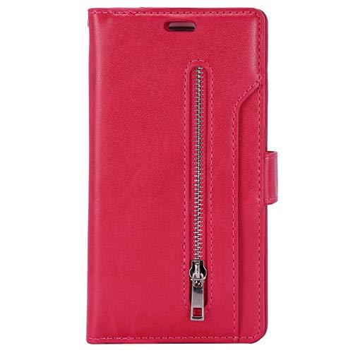Herbests Kompatibel mit Huawei P30 Pro HandyHülle Handytasche Männer Multifunktionale Reißverschluss Brieftasche Hülle Leder Schutzhülle [9 Kartenfach] Handschlaufe Ständer,Rose Rot