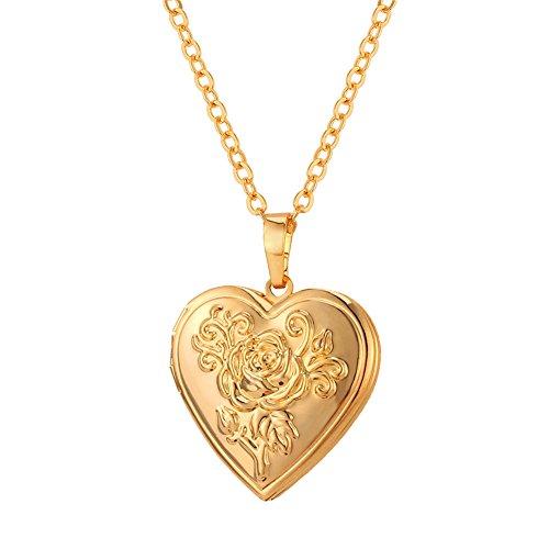 U7 Herz Medaillon zum Öffnen Photo Bilder Amulett Blume Herz Anhänger Halskette 18k vergoldet Herzanhänger Geschenk für Damen Mädchen Mutter (Gold Medaillon Anhänger)