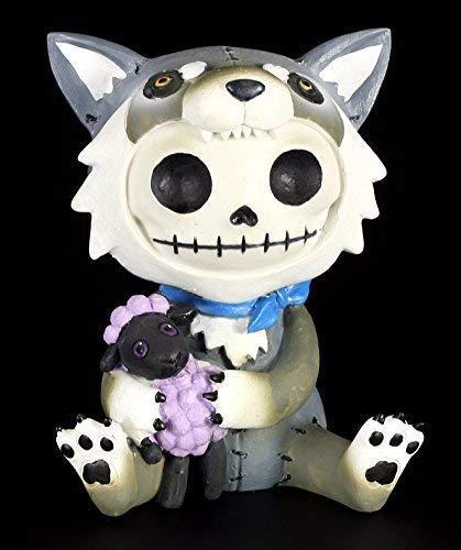 Große Furrybones Figur | Wolfgang im Wolfs-Kostüm | inkl. Geschenkbox für Sammler | Lustige Deko Totenkopf Gesicht (Große Furry Kostüme)