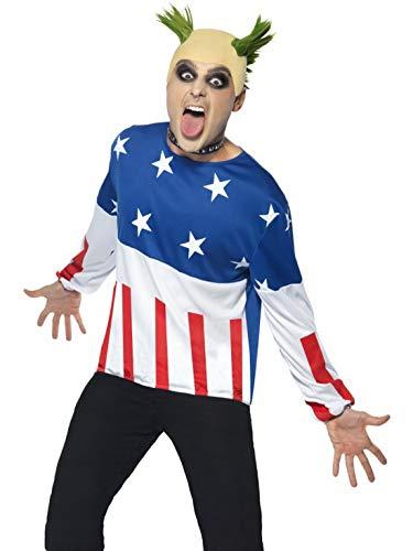 Luxuspiraten - Herren Männer 90er Jahre Crazy Party Starter Crasher Kostüm im Amerika Flag Fahnen Stil mit Pullover, Perücke Wig und Nasenring, perfekt für Karneval, Fasching und Fastnacht, M, Blau