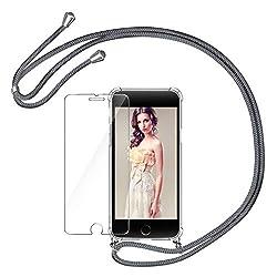 AROYI Handykette Handyhülle + Panzerglas Schutzfolie für iPhone 7/8 Hülle mit Kordel zum Umhängen Necklace Hülle mit Band Schutzhülle Transparent Silikon Acryl Case für iPhone 7/8 -Grau