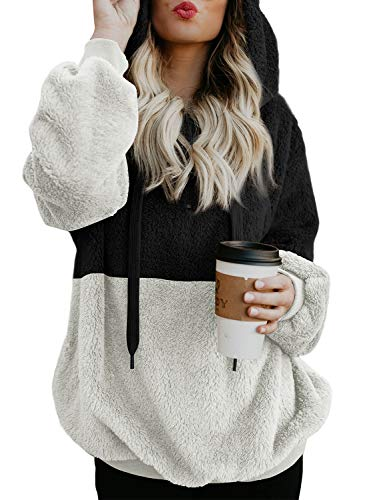 Aleumdr Womens Colorblock Oversize Furry Hoodie with Pocktes Outwear Cardigan S-XXL