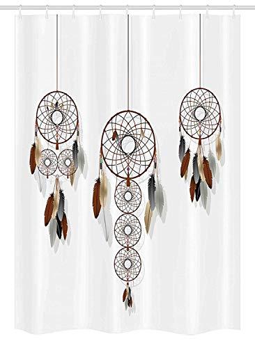 Nyngei Indianer Duschvorhang Duschkabine Boho Dreamcatcher Kollektion Mystic Psychedelic Ethno Indie Stoff Badezimmer Dekor Set mit Braun Weiß (Braun Duschvorhang Set)