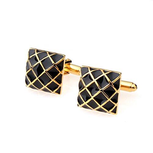 Boutons de manchette carrés pour homme avec motif de grille, couleur noir/doré