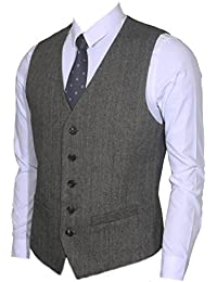 Ruth&Boaz 2Pockets 5Buttons Wool Herringbone/Tweed Business Suit Waistcoat