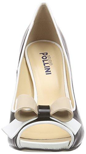 Pollini SA16219C11TM, Scarpe con Tacco a Punta Aperta Donna Nero (Nero/Bianco/Nude)