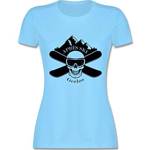 Après Ski - Apres Ski Gerlos Totenkopf - tailliertes Premium T-Shirt mit Rundhalsausschnitt für Damen Hellblau