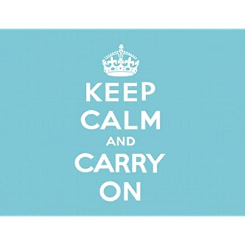 L2369 GRANDE KEEP CALM AND CARRY ON AZUL WW2 CARTEL LETRERO