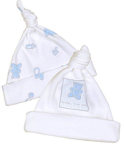 BabyPrem Baby Frühchen Kleidung Packung mit 2 Mützen aus Baumwolle Jungen BLAUER TEDDY P1