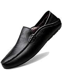 194180f1c67 KAMIXIN Mocasines Hombres Zapatos de Vestir Casuales Holgazanes Slip On  Verano Plano Cuero Zapatos de Conducción