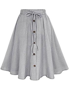 Midi Falda Elegante Plisada de Cintura Alta Raya Faldas para Mujeres