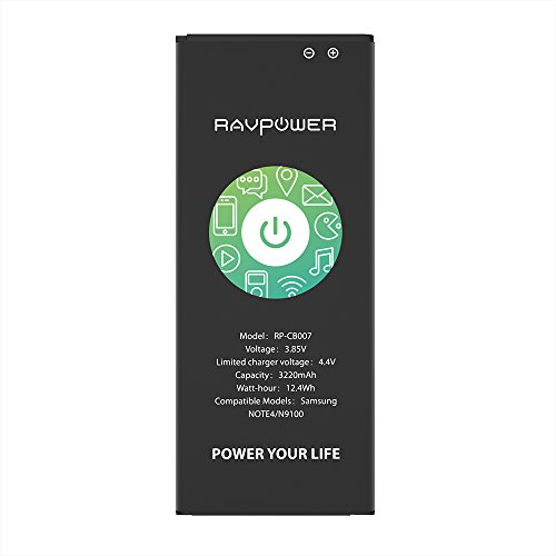 RAVPower 3220mAh Note 4 Akku Li-ion Batterie Ersatzakku Replacement für Samsung Note4 mit NFC 3.85V 12.40Wh