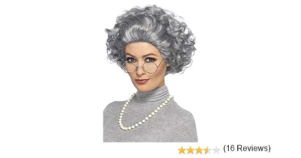con Parrucca Occhiali e Collana di Perle Adulti Taglia Unica Grigio SMIFFYS- Kit Nonna 44632