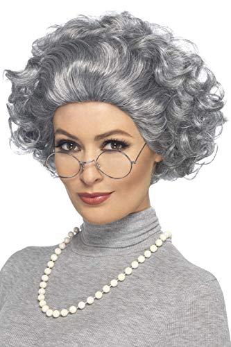 Smiffys Damen Großmutter Set, Perücke, Brille und Perlenkette, One Size, Grau, 44632