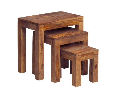 Indiwood Zen Nest Of 3 Tables - Natural Sheesham - WXDXH : 55X35X56