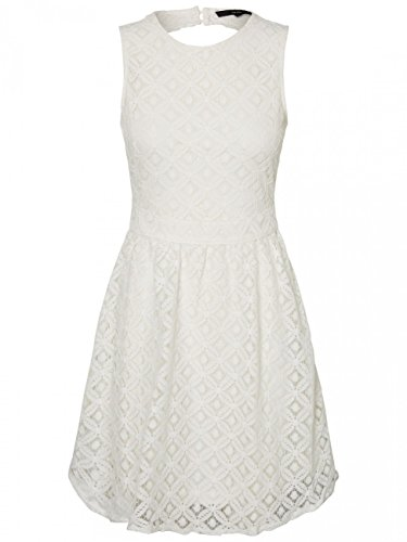 VERO MODA Damen Kleid Vmsimone Lace S/L Short Dress Noos, Weiß (Snow White Snow White), 34 (Herstellergröße: XS) (Rock Nylon Flare)