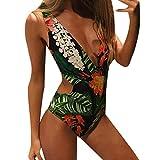 QingJiu Frauen Monokini Bademode Beachwear Push-Up Bikini-Badeanzug-Badeanzug (Grün, Medium)