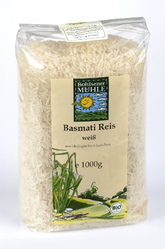 Bohlsener Mühle Basmatireis, weiss, 1er Pack (1 x 1000 g Packung) - Bio
