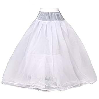 HIMRY Jupon de Mariée en Crinoline Jupon de Qualité, 4 Couches Design Crinoline pour Robes de Mariée Robes de soirée, Taille Unique, pour Taille 34 - Taille 44, Blanc, KXB-0021
