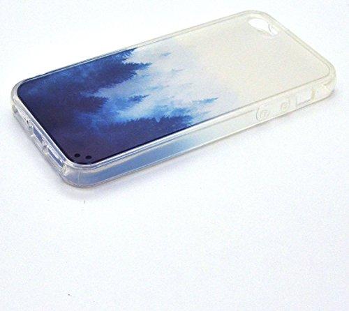 Vandot 1X 0.5MM 3D HD Esclusa Ultra Thin Facile TPU Silicone + Hard PC Weiche Traslucido Frosted Shell Matt Custodie per iPhone 5 5S SE Pattern Dipinto Protettivo Case Skin Back Cover Anti-dito Scratc Design04