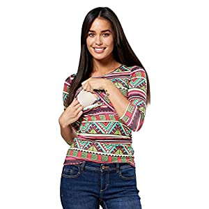 Happy-Mama-Mujer-Top-Camiseta-premam-Lactancia-Cuello-Redondo-Doble-Capa-988p-EU-4244-2XL