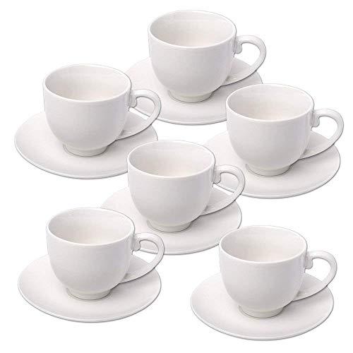 Alpina 871125285358 Set Tasses à café avec soucoupes, Céramique, Blanc, 31 x 17,5 x 7.0 cm, 12 unités