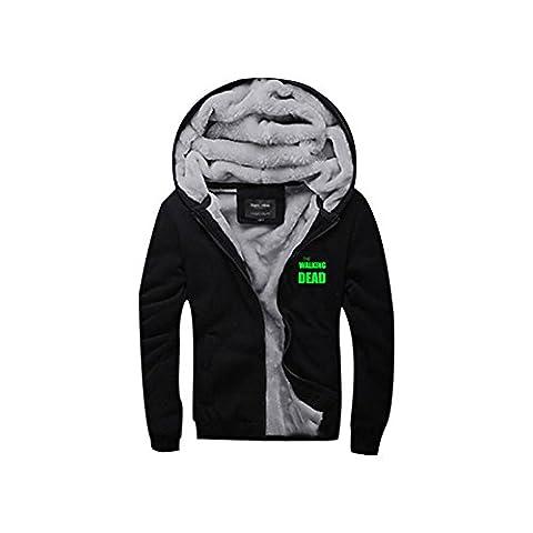 Winter Hoodie Thick Zip-Up Hooded Sweatshirt Coat Jacket Plus Velvet For Adults Cosplay Costume Angel Wings