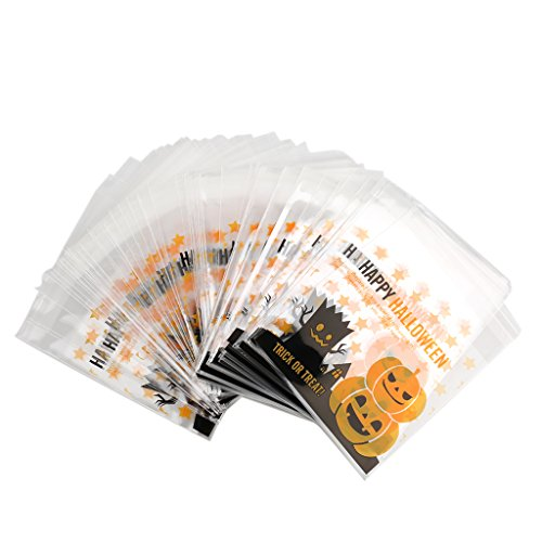 Gazechimp 100pcs Halloween Kürbis Plastikbeutel Cellophanbeutel Gebäcktüten Cellophantüten Für Cookie Süßigkeit Paket