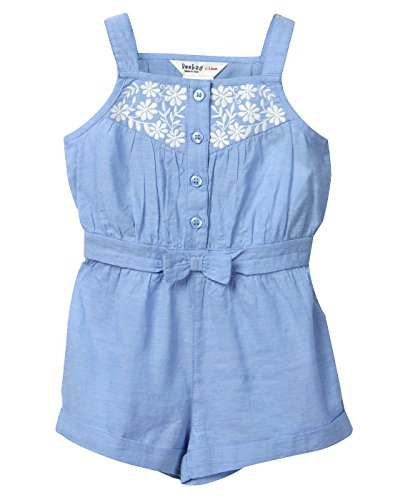 Beebay Infant-girl 100% Cotton Chambray Bow Jumpsuit (Light Blue,6-12 Months)