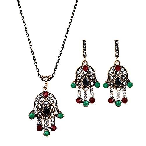Zqword orecchini di gioielli di collana della catena del pendente di cristallo della palma della mano delle donne della boemia del diamante di modo,2