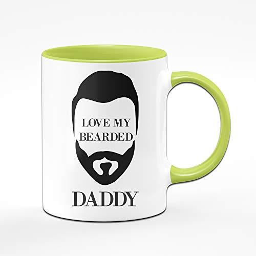 Tassenbrennerei Tasse mit Spruch Love My Bearded Daddy - Bart Tasse Geschenk für Papa, Männer Tassen mit Sprüchen (Grün)