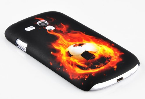 Cadorabo - Etui Coque rigide Samsung Galaxy S3 MINI (I8190) - Case Cover Bumper Design: FLEUR POURPRE Design: FOOTBALL