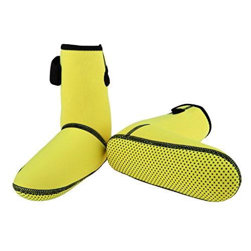 Baoblaze Damen Herren Neopren Füßlinge 3mm Neoprenschuhe Neoprenboo Surfschuhe für Geräteflosse Aquaschuhe Schwimmschuhe Schutzstiefel - Gelb, S