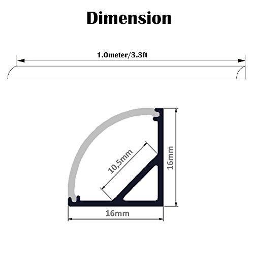 ~ Profili per Strisce LED 45° – 6x1MT Profilo Alluminio LED per Strisce LED con Tappo Laterale Terminale,Clip di Montaggio,Copertura Opale miglior prezzo