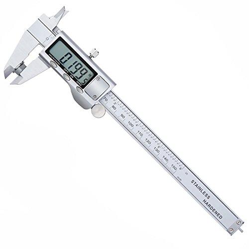 Digitaler Messschieber 150mm/6-Zoll Schieblehre mit LCD Display,Hochpräzise Edelstahl mikrometer digital für Abständen,Durchmesser,Tiefenmaß - Silber,In/mm,mit 2 Batterie(Dezember - Garantie)